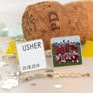 Personalised Wedding Party Photo Cufflinks from Pukkagifts.uk