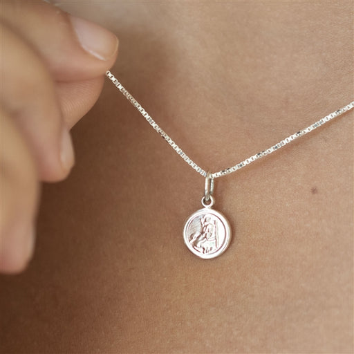 Sterling Tiny St Christopher Necklace With Personalised Gift Box