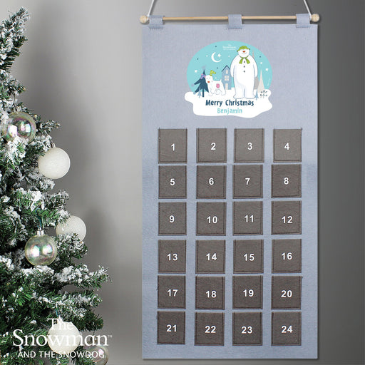 Personalised The Snowman and the Snowdog Pocket Advent Calendar In Silver Grey