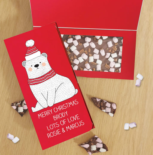 Personalised Polar Bear Letterbox Milk Chocolate Card