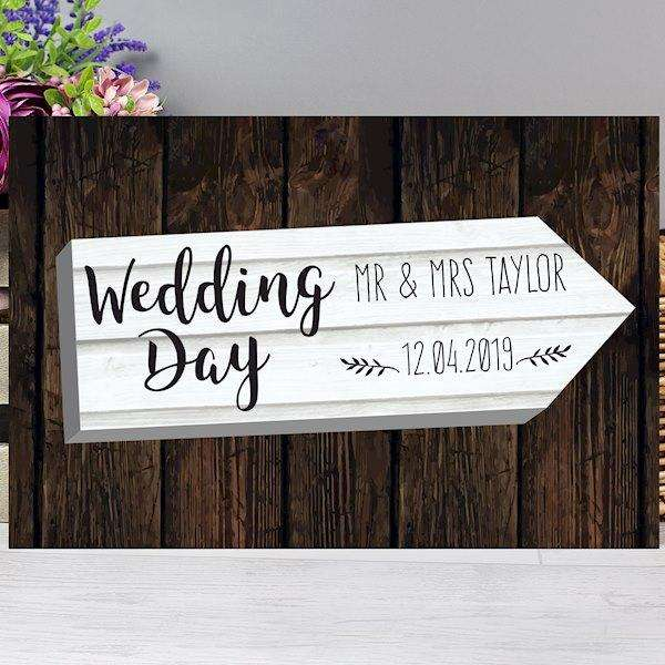 Personalised Wedding Day White Arrow Metal Sign from Pukkagifts.uk