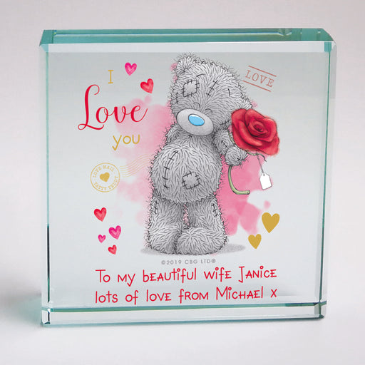Personalised Me To You I Love You Glass Block