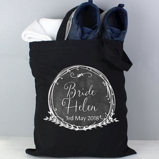 Personalised Wreath Black Cotton Bag