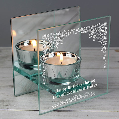 Personalised Diamante Mirrored Glass Tea Light Holder from Pukkagifts.uk