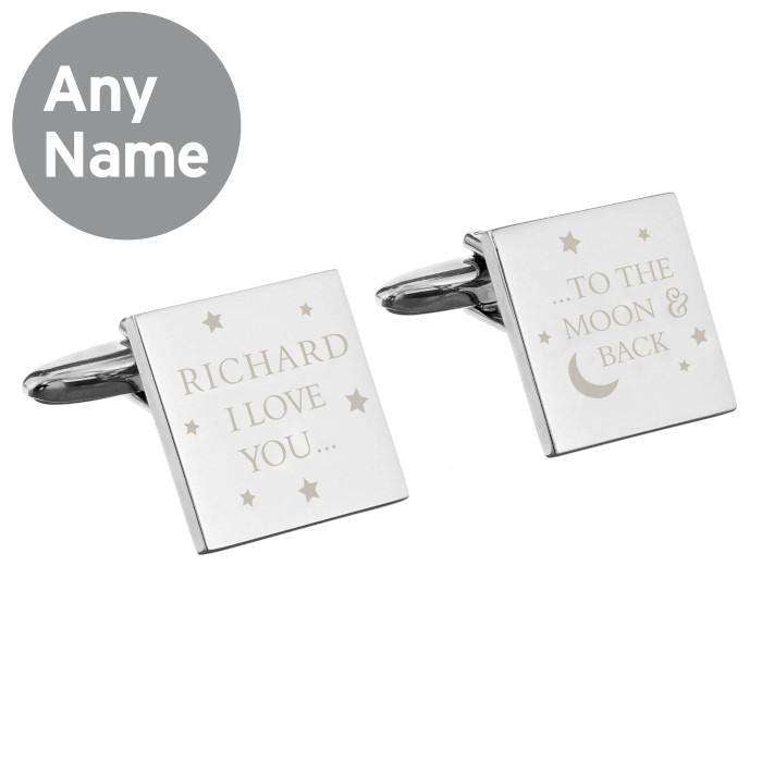 Personalised To the Moon and Back Square Cufflinks from Pukkagifts.uk