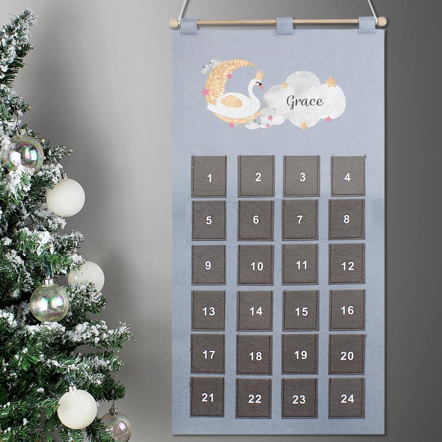 Personalised Pocket Swan Lake Felt Advent Calendar In Silver Grey