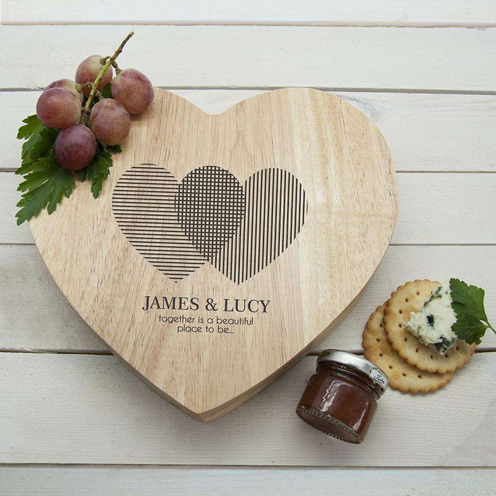 Engraved Heart Venn Diagram Heart Cheese Board from Pukkagifts.uk