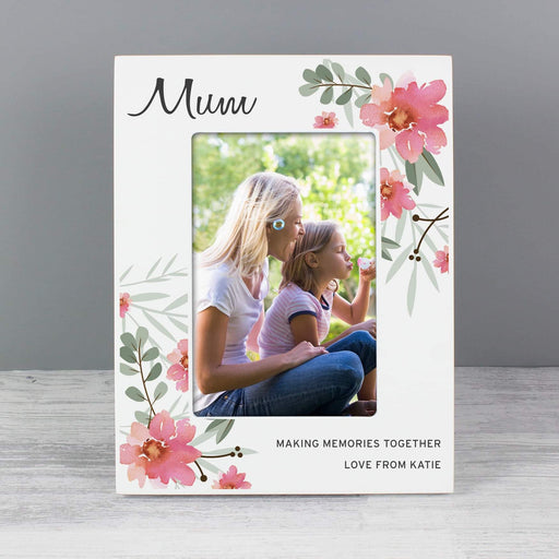 Personalised Floral Sentimental Photo Frame 6x4 Wooden from Pukkagifts.uk