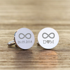 Personalised Infinity Initials and Date Cufflinks