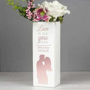 Personalised Love is All You Need Square Vase from Pukkagifts.uk
