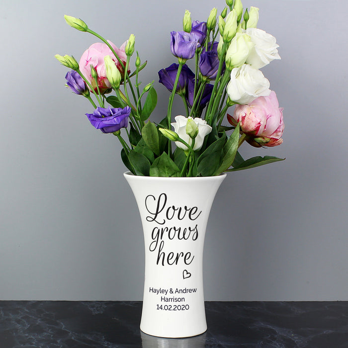 Personalised Love Grows Here Ceramic Waisted Vase