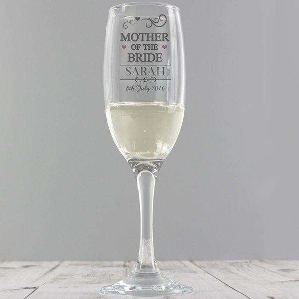 Personalised Mother Of The Bride Champagne Glass Flute from Pukkagifts.uk