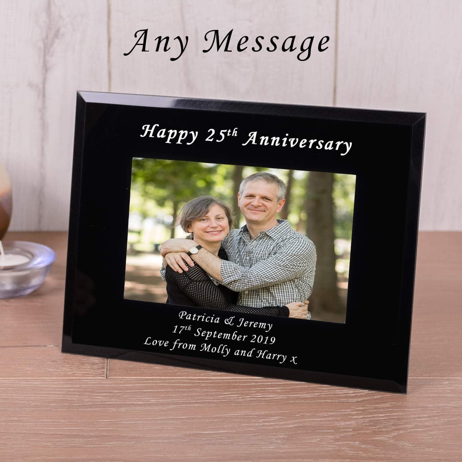 Personalised Black Glass Photo Frame 6x4
