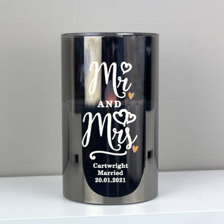 Personalised Mr & Mrs Smoked Glass LED Candle