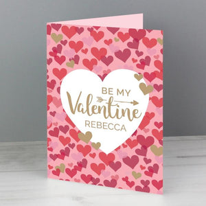 Personalised Be My Valentine Confetti Hearts Card