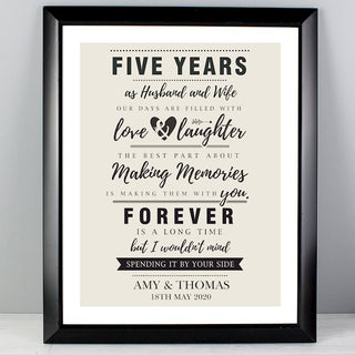 Personalised Anniversary Black Framed Print From Pukkagifts.uk