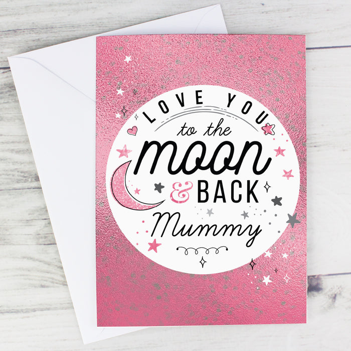 Personalised Love You To The Moon & Back Pink Card