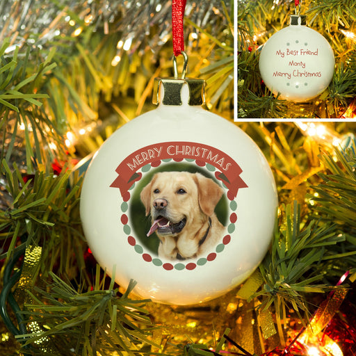 Personalised Merry Christmas Pet Photo Bauble from Pukkagifts.uk