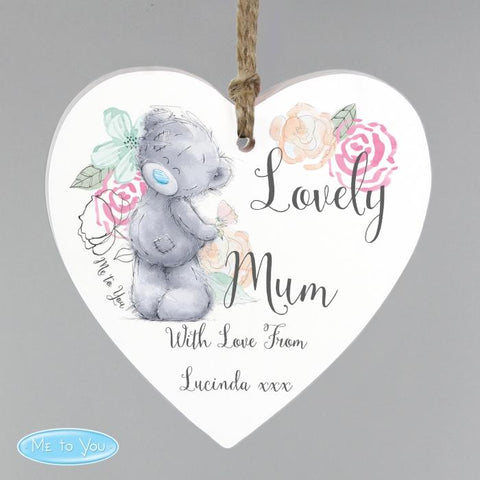 Personalised Me to You Floral Wooden Heart Decoration from Pukkagifts.uk