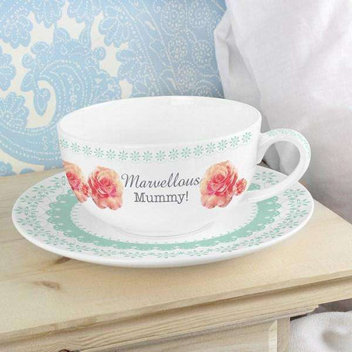 Personalised Vintage Rose Teacup & Saucer from Pukkagifts.uk
