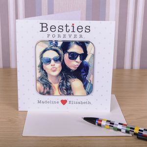Besties Forever Best Friend Photo Coaster Card