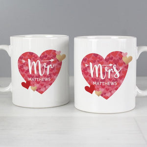 Personalised Mr and Mrs Confetti Hearts Mug Set | Wedding | Anniversary | Valentines Day Gift