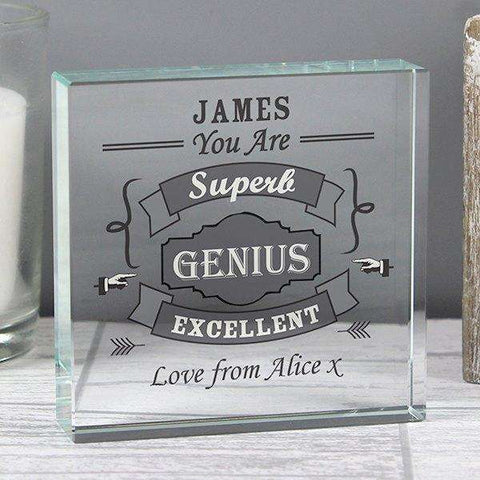 Personalised Vintage Typography Crystal Token,Pukka Gifts