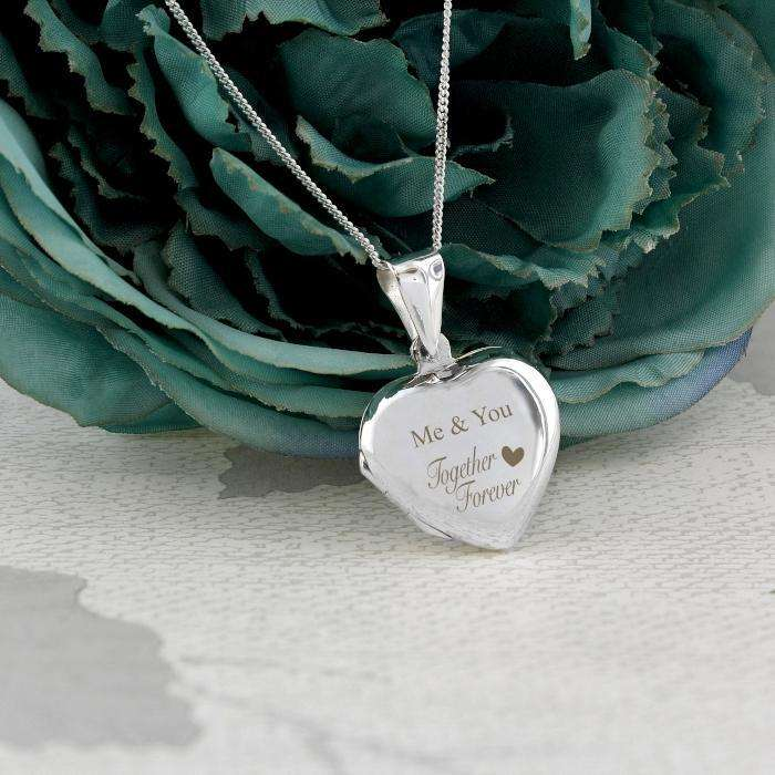 Personalised Sterling Silver 'Together Forever' Heart Locket Necklace from Pukkagifts.uk