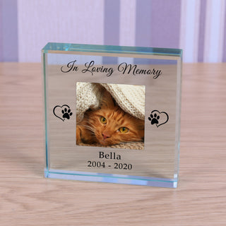 Personalised Cat Memorial Glass Token - In Loving Memory