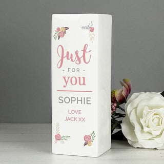 Personalised Floral Bouquet Square Vase from Pukkagifts.uk