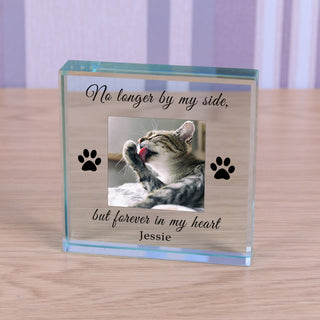 Personalised Cat Memorial Glass Token - Forever In My Heart