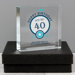 Personalised Birthday Age Large Crystal Token from Pukkagifts.uk