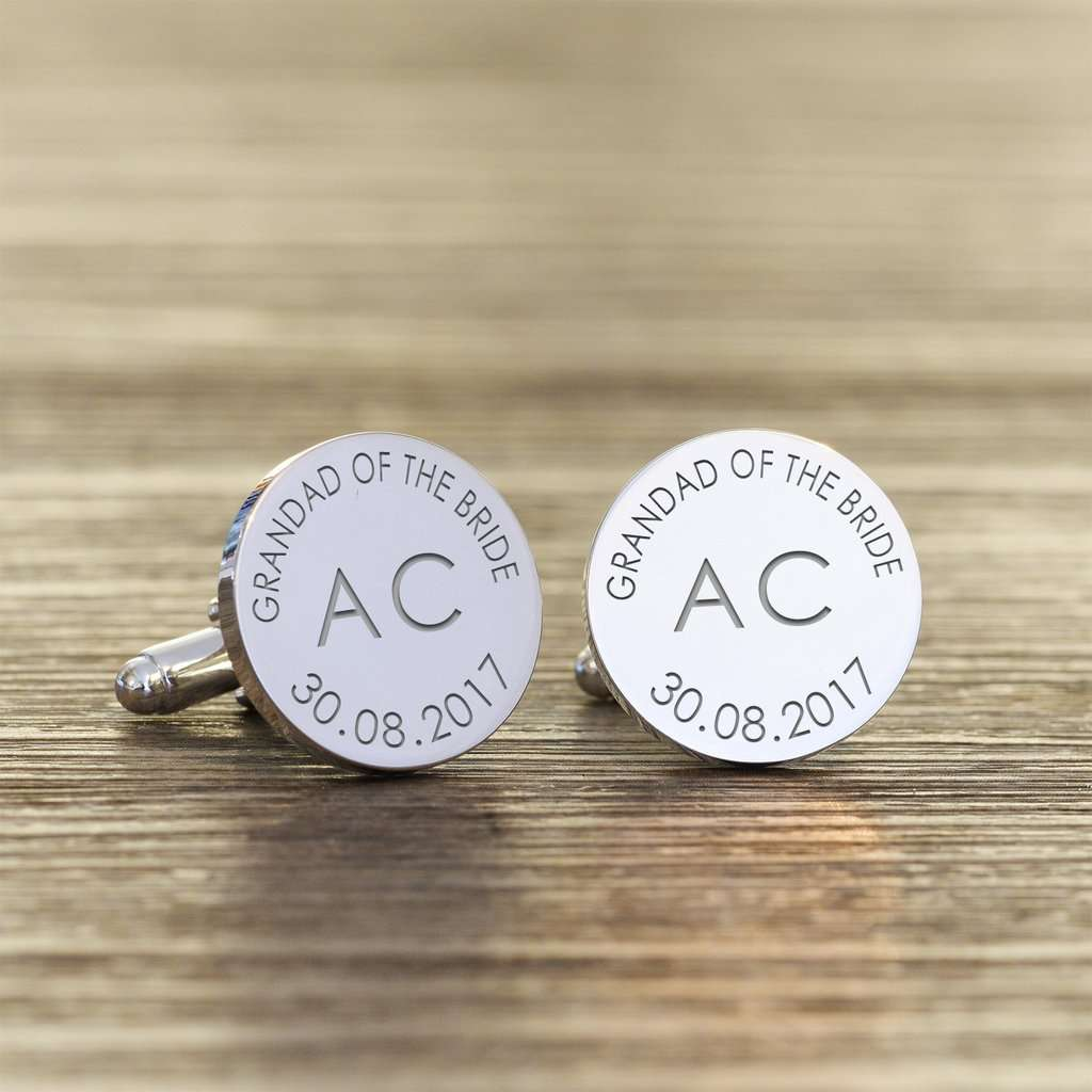 Personalised Grandad Of The Bride Cufflinks - Initials And Date from Pukkagifts.uk