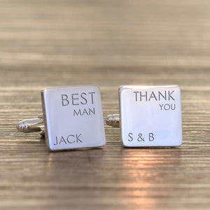 Engraved Wedding Party Role Square Cufflinks,Pukka Gifts