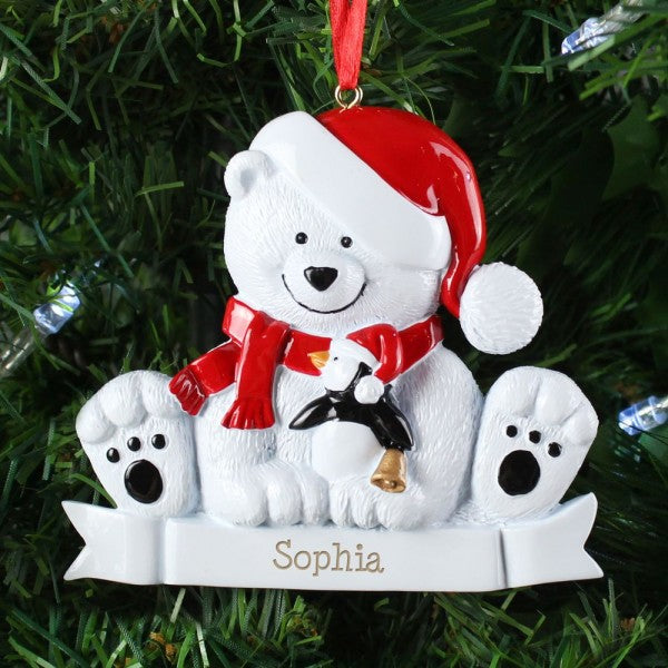 Personalised Polar Bear Resin Christmas Tree Decoration from Pukkagifts.uk