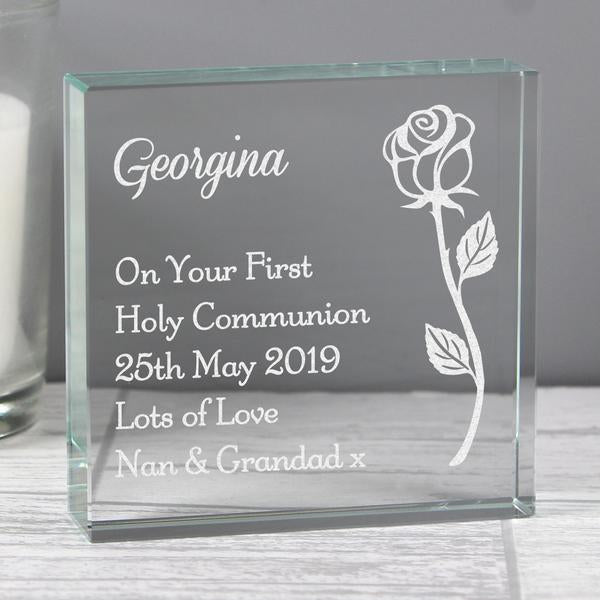 Personalised Rose Large Crystal Token from Pukkagifts.uk