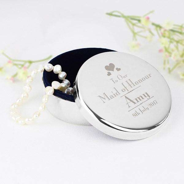 Personalised Decorative Wedding Maid of Honour Round Trinket Box from Pukkagifts.uk