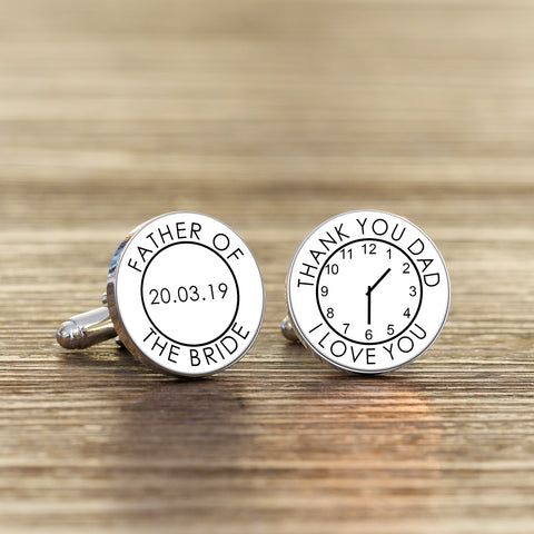 Personalised Father Of The Bride Time Clock Cufflinks from Pukkagifts.uk