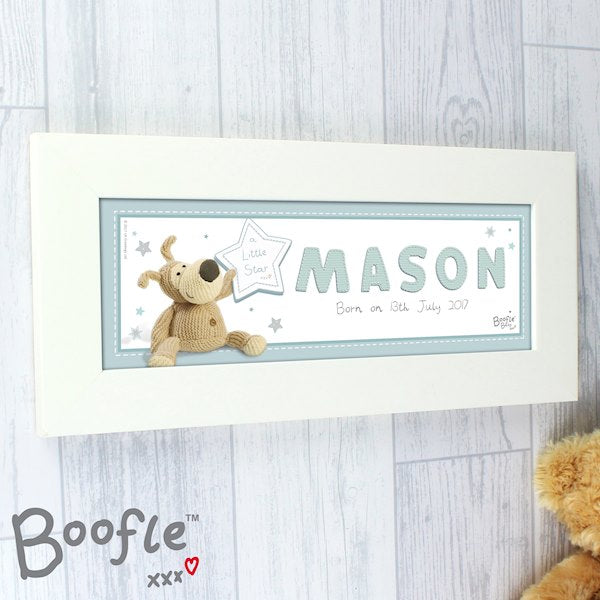 Personalised Boofle It's A Baby Boy Name Frame from Pukkagifts.uk