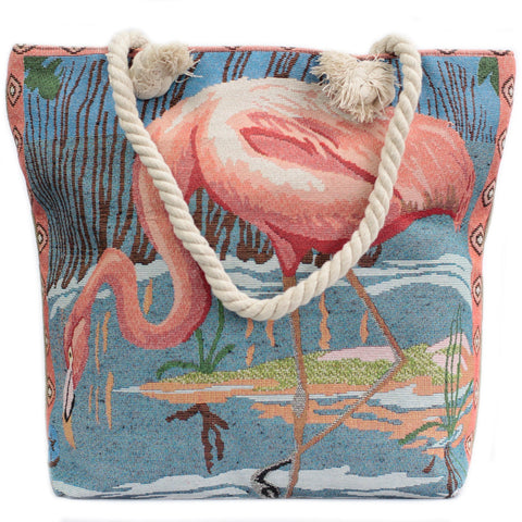 Pink Flamingo Rope Handle Beach Tote Bag