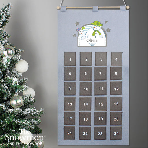 Personalised The Snowman Felt Pocket Advent Calendar In Silver Grey