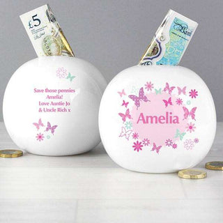 Personalised Butterfly Money Box from Pukkagifts.uk