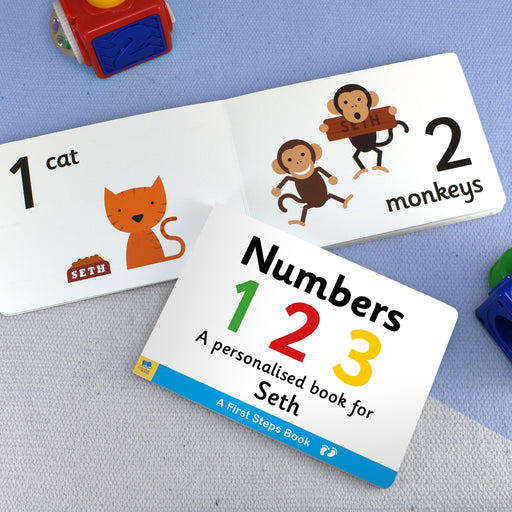 First Steps Numbers Personalised Board Book from Pukkagifts.uk