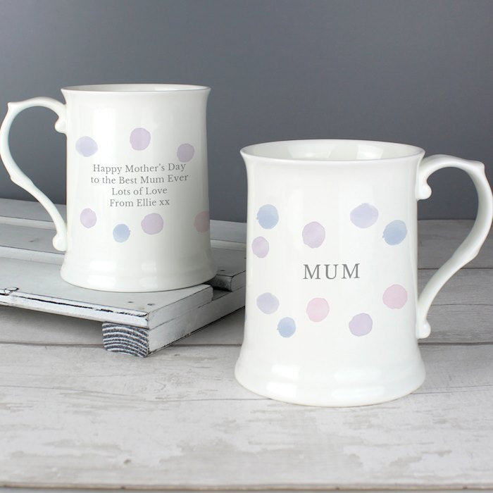 Personalised Pink Spot 15oz Mug