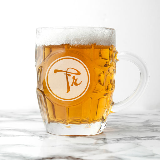 Personalised Round Monogrammed Dimpled Beer Glass