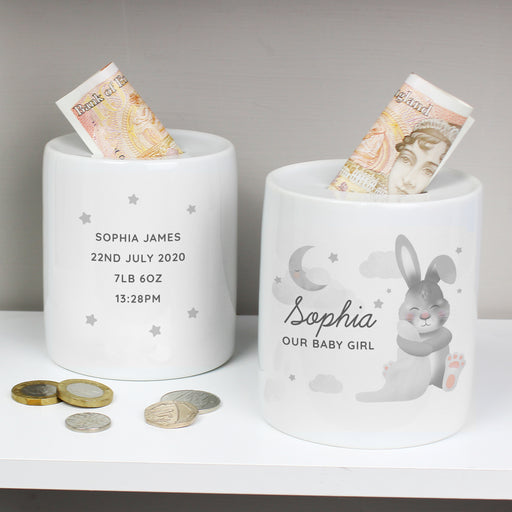 Personalised Baby Bunny Ceramic Money Box