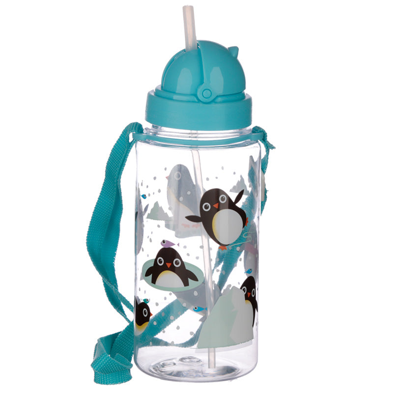 Children's Penguin Water Bottle with Straw & String 450ml from Pukkagifts.uk