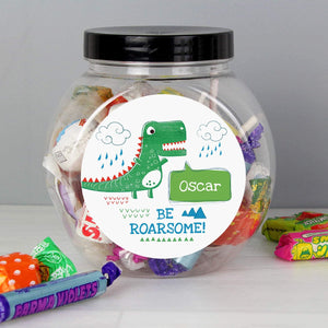 Personalised Be Roarsome Dinosaur Sweet Jar from Pukkagifts.uk