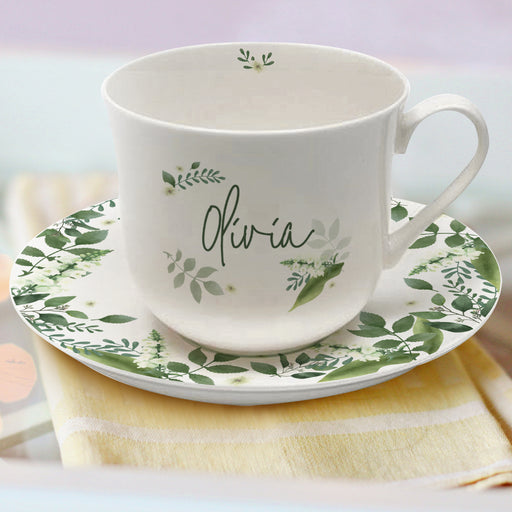 Personalised Floral Cup & Saucer