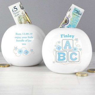 Personalised Blue ABC Money Box from Pukkagifts.uk